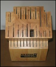 Six Star Cutlery 30 Slot Labeled Wood Knife Knives Block