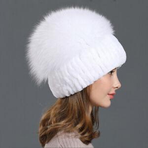 Rex Rabbit Fur Hat With Fox Fur Top, Real Fur Hat, Winter Real Fur Hat