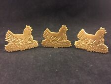 """LOT OF 3-VINTAGE BRASS NAPKIN RINGS-CHICKEN HEN LAYING IN NEST-1.5"""" INCH LOOP-NR"""