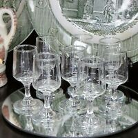 VINTAGE LIQUEUR GLASSES SET OF 8 CORDIAL GLASS STAR CROSS SMALL GOBLET BARWARE
