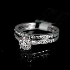 Ladies White 14K Gold Genuine Real Diamond Ring Set Duo Wedding Engagement Band