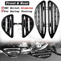 CNC Front&Rear Floorboards Passenger Driver Stretched Footpeg For Harley Touring