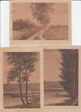German Expressionism 3 antique sepia miniature drawings Lanscape Signed Marks