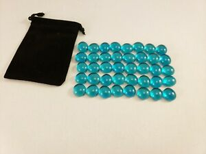 Set of 40 CLEAR TEAL Pente Glass Stone Game Playing Piece part replacement NEW