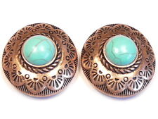 2 - 2 HOLE SLIDER BEADS COPPER PLATED WESTERN CONCHO AZTEC DESIGN TURQUOISE CABS