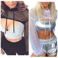 Women Sexy Mesh Sheer Crop Top Hooded Shirt Long Sleeve Fishnet Short Blouse Top
