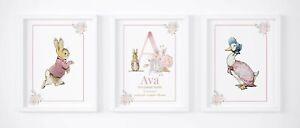 Peter Rabbit Beatrix Potter Set of 3 Name Picture Nursery Print Gift UNFRAMED