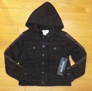 True Religion Denim Jacket Kids Boys Black Stretch Removable Hoody 3 4 5 7 NWT