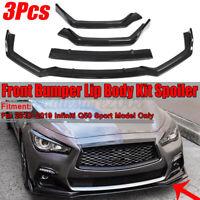 Carbon Fiber Look Front Bumper Lip Spoiler Splitter For Infiniti Q50 Sport