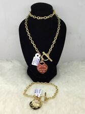 Gold Authentic 18k gold bracelet and necklace 18 inches chain with heart pendant