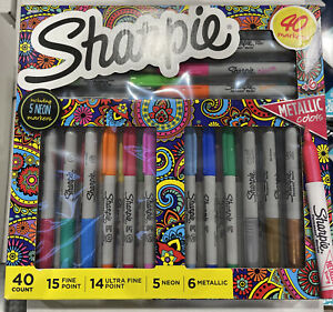 Sharpie 40 Markers Set~Assorted Colors~Fine Point ~Ultra Fine~Neon & Metallic