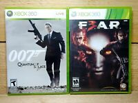 007 Quantum of Solace & FEAR 3 Xbox 360 Shooter Video Game Lot Complete Tested