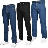 Mens Straight Leg Jeans Heavy Work Cotton Denim Pants Trousers All Waist Sizes