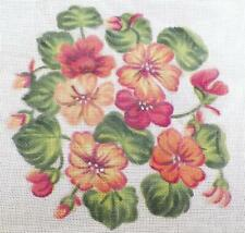 Needlepoint Canvas Hand Painted Red Orange Yellow Flowers Vintage Hungary PRETTY