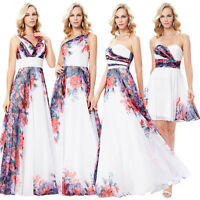 4Style Flower Print Long Chiffon Bridesmaid Wedding Prom Party Evening Dress New