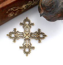 Antique Brass Maltese Filigree Cross Stampings ~ Jewelry Findings (Cb-3044)