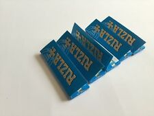 Lot of 5 Rizla Blue Rolling Paper Made in E.U With Arabic Gum 250 Papers
