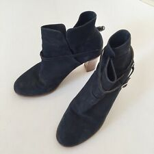 FOLK CLOTHING NUBUK ANKLE BOOTS HANDMADE IN PORTUGAL UK6/EU39 BLUE EXC.COND