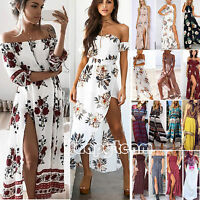 Women's Maxi Floral Dress Boho Summer Beach Long Evening Cocktail Party Sundress