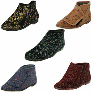 LADIES LADY LOVE EDITH RIPTAPE STRAP SHOES INDOOR BOOT STYLE FLOWER SLIPPERS