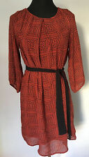 H&M RED & BLACK GEOMETRIC/ SQUARE PATTERNED LONG-SLEEVED SHORT DRESS ~ Size 12