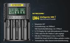 Nitecore UM4 – intelligentes Ladegerät für Li-Ion, LiFePo4, Ni-MH, Ni-CD Akkus