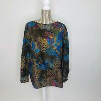 Vintage Tomorrows Dream Mod Butterfly Floral Vibrant Puff Sleeve Blouse Large/XL