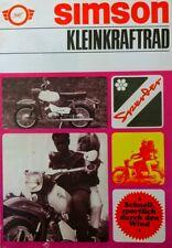 Reklame Werbung Simson Prospekt SPERBER SR4-3 Moped 4,6 PS VEB Suhl DDR STIL1968