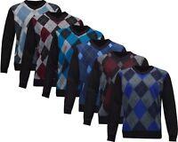 New Mens Argyle Diamond Long Sleeve V - Neck Jumper Top Pullover Winter Golf Top