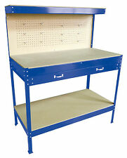 New Blue Steel Tools Box Workbench Garage Workshop Table With Pegboard Drawers