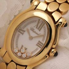 Chopard Happy Sport Oval Polished 18K Yellow Gold Ladies 24mm Watch 277466-0002
