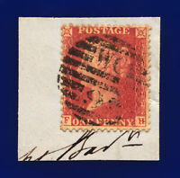1857 SG40 1d Rose-Red FH on Piece London WC/9 Pert Perfs Rich Shade Cat £12 clnj