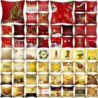Christmas Pillow Case Glitter Polyester Sofa Throw Cushion Cover Home Decor