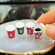 Dollhouse Miniatures Starbucks Hot Coffee Cup Drink Beverage Christmas Decor Set