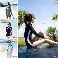 Women One Piece Swimsuit Long Sleeve Rash Guards Bathing Suit Sports Swimwear