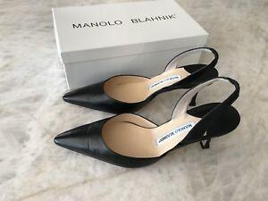 MANOLO BLAHNIK Carolyne Sling Back Mid Heel Black 39