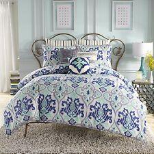 4-Pc Anthology Jolie Girl's TWIN XL Dorm Room Comforter Set White Blue Aqua Ikat