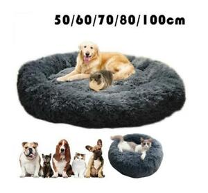 Dog Cat Bed Fluffy Donut Kitten Puppy Pet Cushion Calming Mattress  Plush Grey