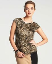 NWOT ANN TAYLOR Cap Sleeve Animal Print Feathered Jacquard Top Size 6
