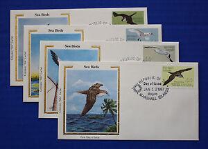 "Marshall Islands (C13-C16) 1987 Marine Birds Colorano ""Silk"" FDC set"