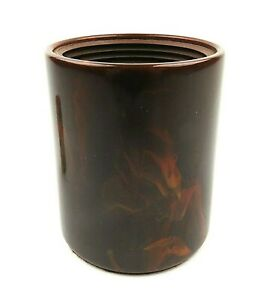 Vintage Catalin Bakelite Brown Swirl Dice Cup Ribbed w Cork inside Felt Bottom