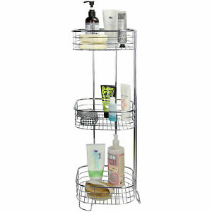 Freestanding 3 Tier Shower Caddy Chrome Rust-Resistant Bathroom Organiser M&W