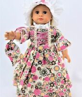 "Doll Clothes 18"" Colonial Dress Cap Purse Floral For American Girl Felicity"
