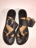 Born Brown Leather Size 10 Women's Thong Sandals With Buckles W62247