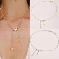 Fashion Moon Five-pointed Star Pendant Alloy Necklace Women Jewelry