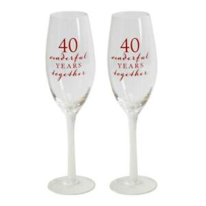 40th RUBY ANNIVERSARY CHAMPAGNE FLUTE GLASSES ( 2 ) GIFT BOXED Free Ship UK