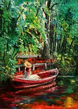 Southern Lady Belle Pond Boat Trees Limited Edition ACEO Print Art Yary Dluhos .