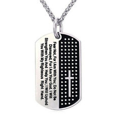 Dog Tag Cross Necklace Pendant Stainless Steel Necklace Chain Fashion JewelryV#a