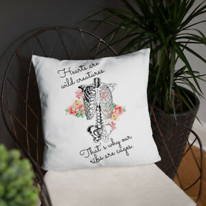 """Hearts Are Wild Anatomy Ribcage Floral Throw Pillow 18""""x18"""" Home Decor"""