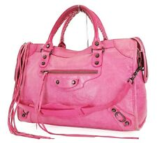 Auth BALENCIAGA City Pink Leather 2-Way Hand Shoulder Tote Bag Purse #37425